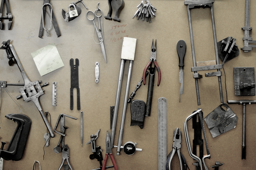 William and Son - tools mounted on wall